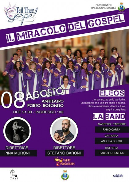 Locandina Spettacolo Porto Cervo - Tell Thee Gospel Choir - Progetto ELEOS